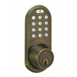 Keypad & RF Remote Control Deadbolt lockset - Antique Brass Finish