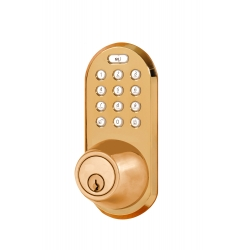 Keypad & RF Remote Control Deadbolt lockset - Polished Brass Finish