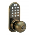 Keypad & RF Remote Control Knob Lockset - Antique Brass Finish